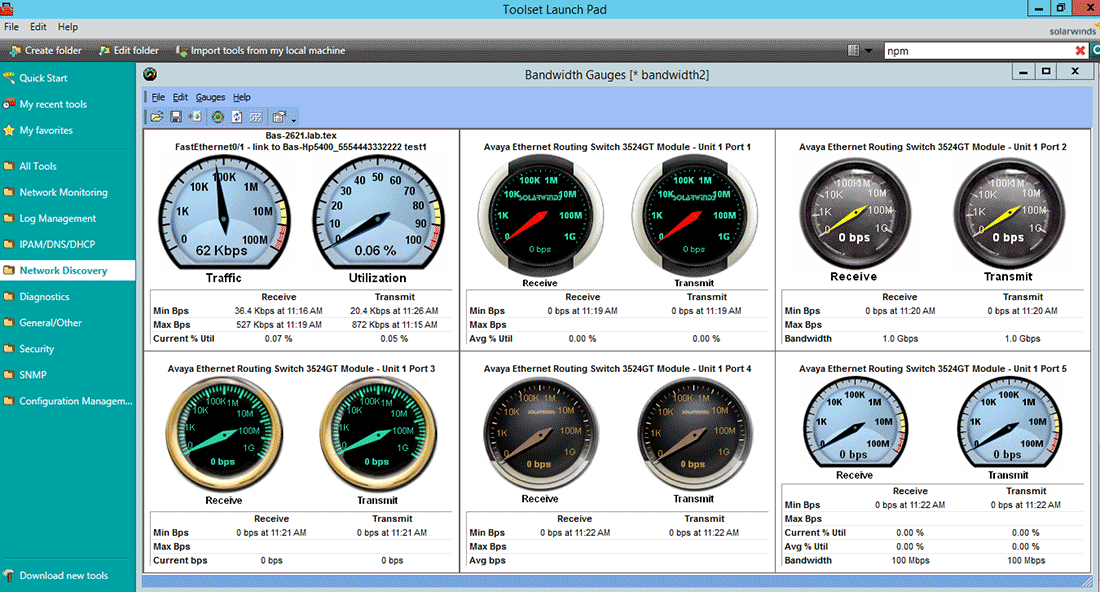 View of multiple bandwidth gauges as integrated gadgets