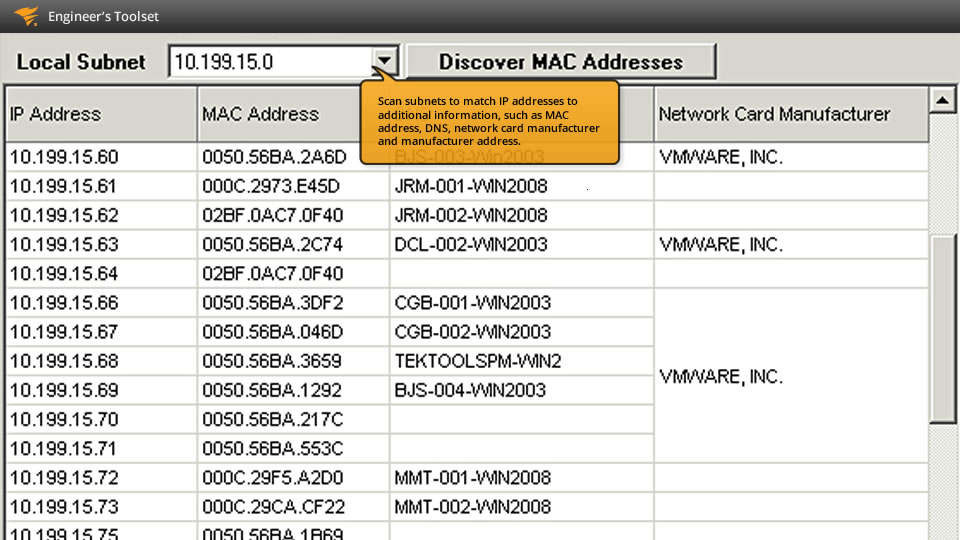 View of MAC address scanner and discovery tool by SolarWinds.