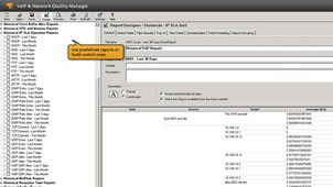 View of customizable VoIP QoS performance reports.