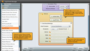 View of log collection and event management capabilities.