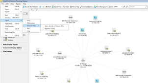Screenshot of exporting a network diagram to Visio.