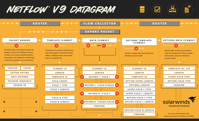 What is the NetFlow protocol and how does it work? Click this image to open a NetFlow v9 datagram (PDF).