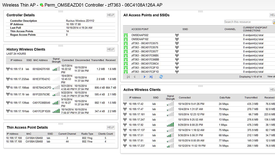 View of SolarWinds wireless management software for networks.