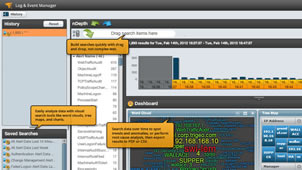 View of log management and log monitoring with SolarWinds' LEM.