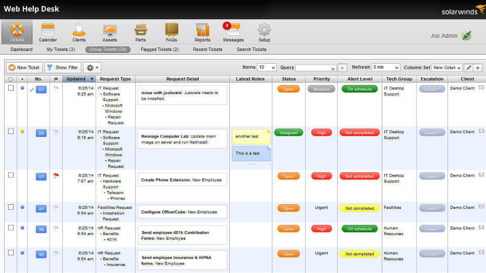 Screenshot of IT Help Desk ticketing management capabilities.