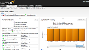 View of Citrix XenApp performance monitoring capabilities with SolarWinds® SAM.