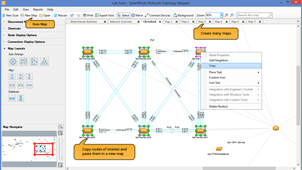 Screenshot of network topology, network discovery and network mapping capabilities.