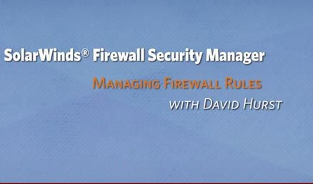 Screenshot of firewall management software product video walk through.