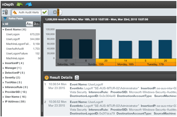 View of Event Log Analyzer tool capabilities with SolarWinds Log & Event Manager.