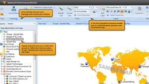 Screenshot of SolarWinds Network Monitoring Software creating dynamic, multi-level maps by automatically discovering network topology.