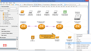 View of network inventory management software.