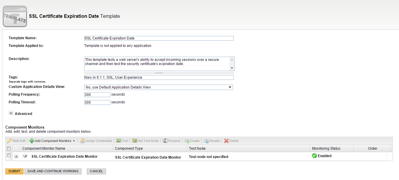 View of SSL Certificate expiration date monitoring and management software.