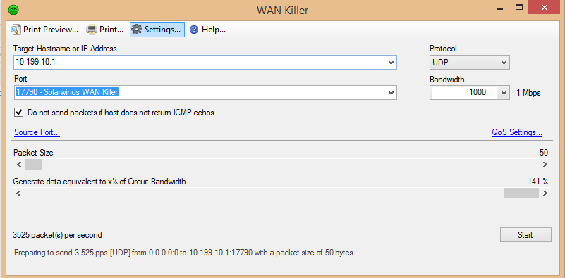 View of how to use a Network Traffic Generator or WAN Killer