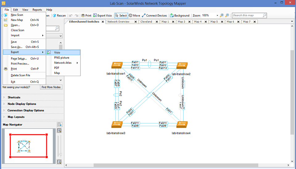 View of Export network diagrams to Visio