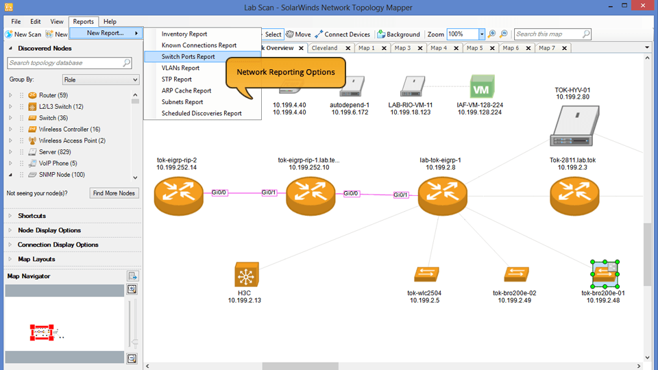 View of Generate network reports