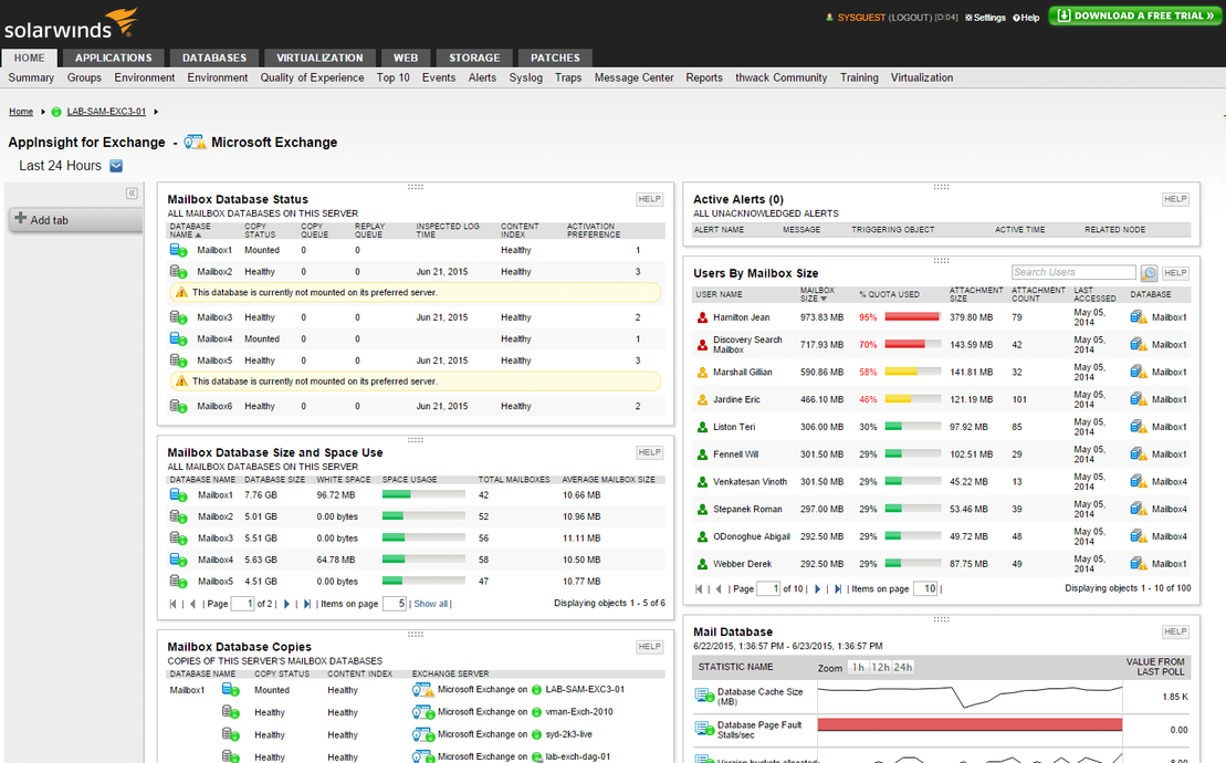 View of Exchange Server monitoring and capacity planning features.