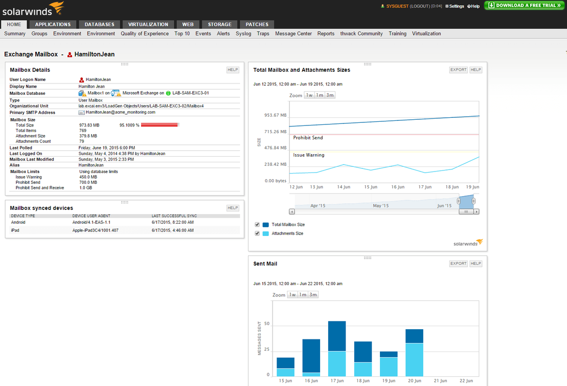 View of Exchange Server monitoring and troubleshooting capabilities.